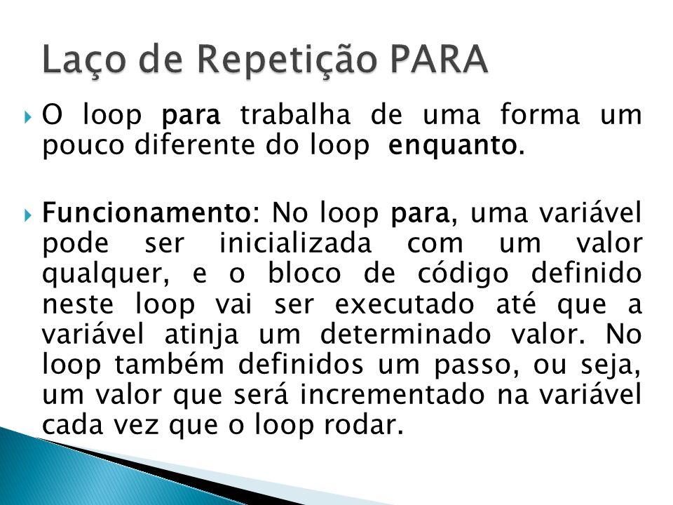 Laço de Repetição PARA O loop para trabalha de uma forma um pouco diferente do loop enquanto.