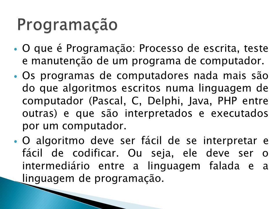 Programação O que é Programação: Processo de escrita, teste e manutenção de um programa de computador.