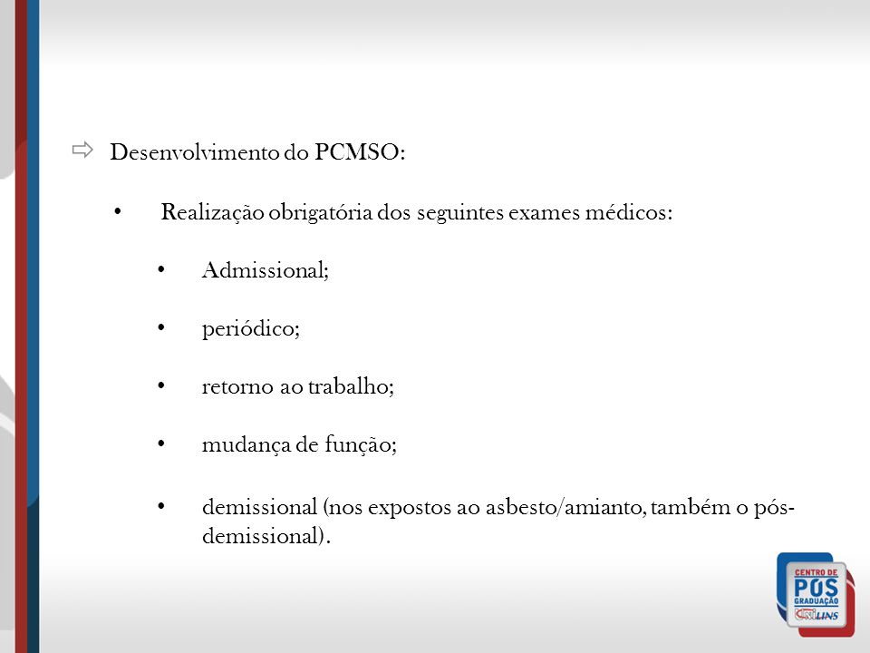  Desenvolvimento do PCMSO: