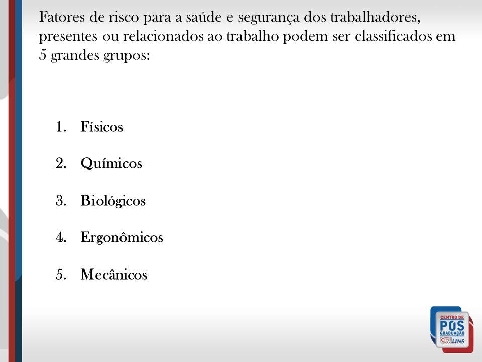 Físicos Químicos Biológicos Ergonômicos Mecânicos