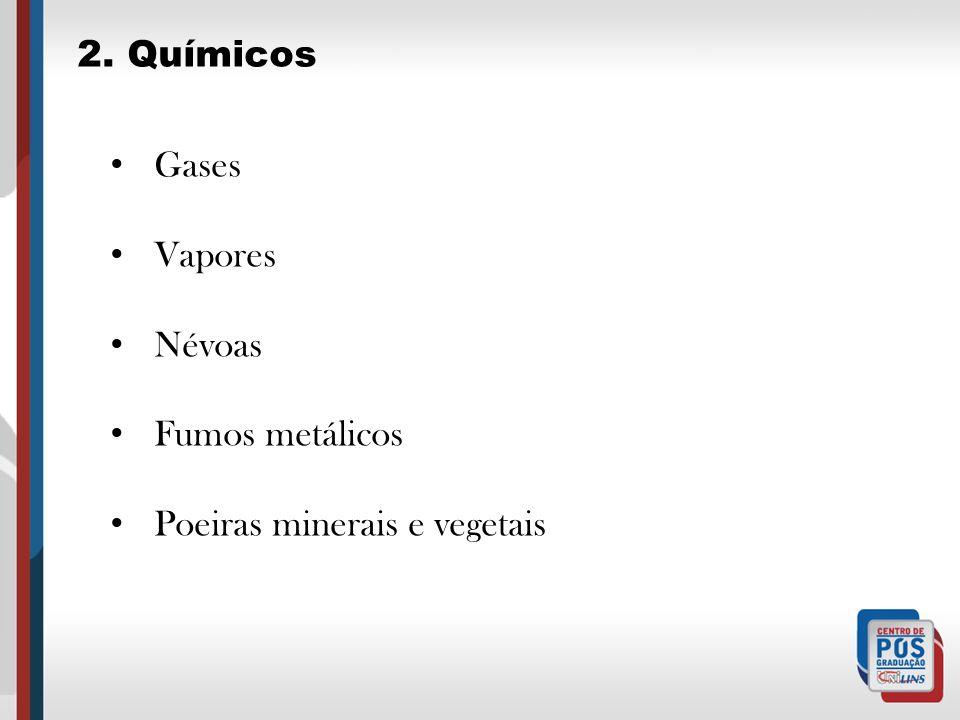 Gases Vapores Névoas Fumos metálicos Poeiras minerais e vegetais