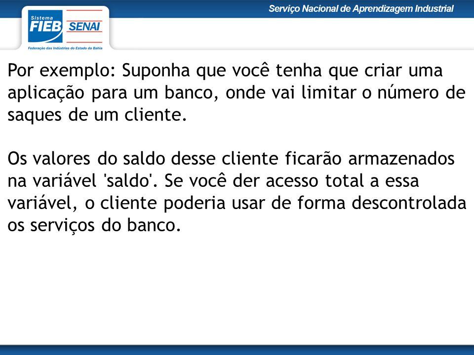Por exemplo: Suponha que você tenha que criar uma aplicação para um banco, onde vai limitar o número de saques de um cliente.