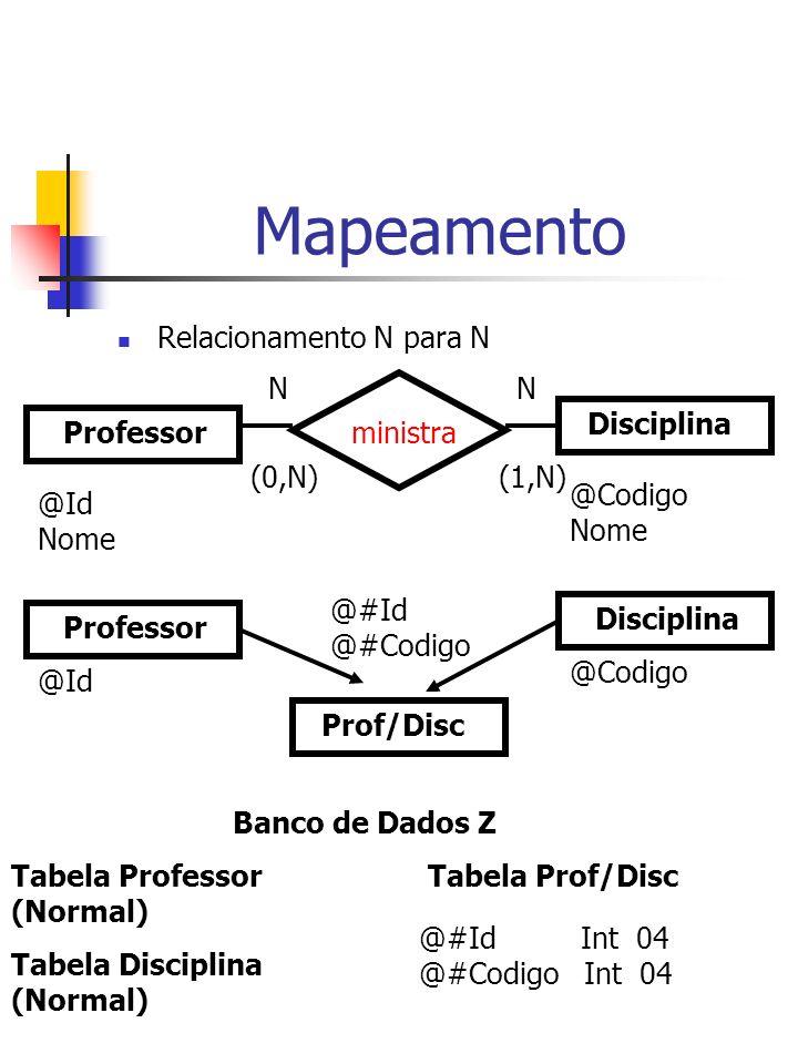 Mapeamento Relacionamento N para N N N Disciplina Professor ministra