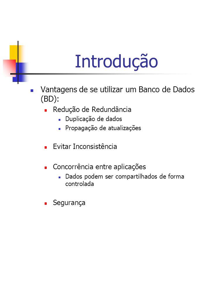 Introdução Vantagens de se utilizar um Banco de Dados (BD):