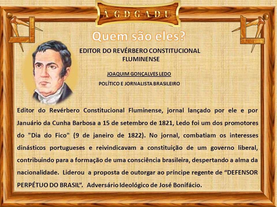 JOAQUIM GONÇALVES LEDO POLÍTICO E JORNALISTA BRASILEIRO