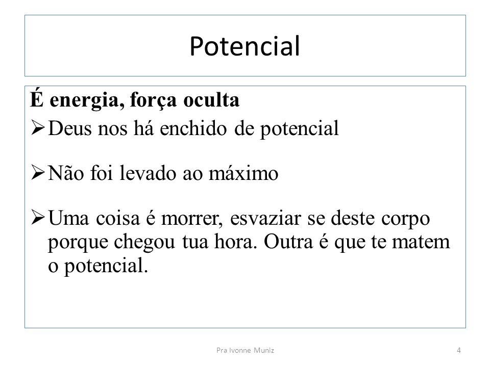Potencial É energia, força oculta Deus nos há enchido de potencial