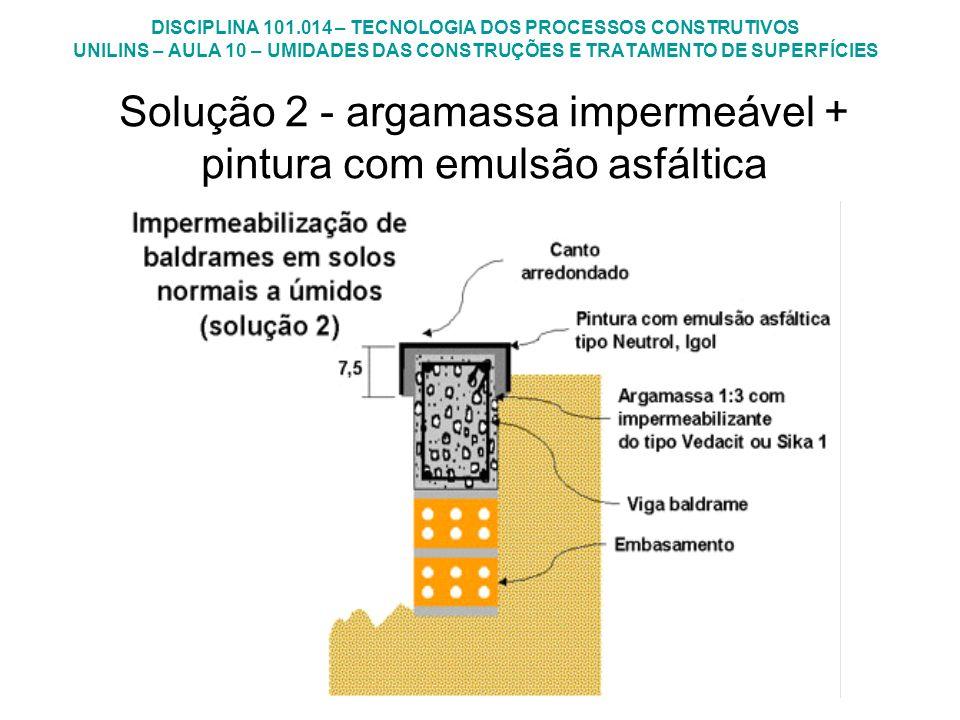 Solução 2 - argamassa impermeável + pintura com emulsão asfáltica
