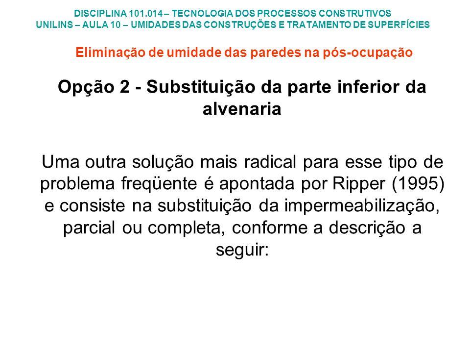 Opção 2 - Substituição da parte inferior da alvenaria