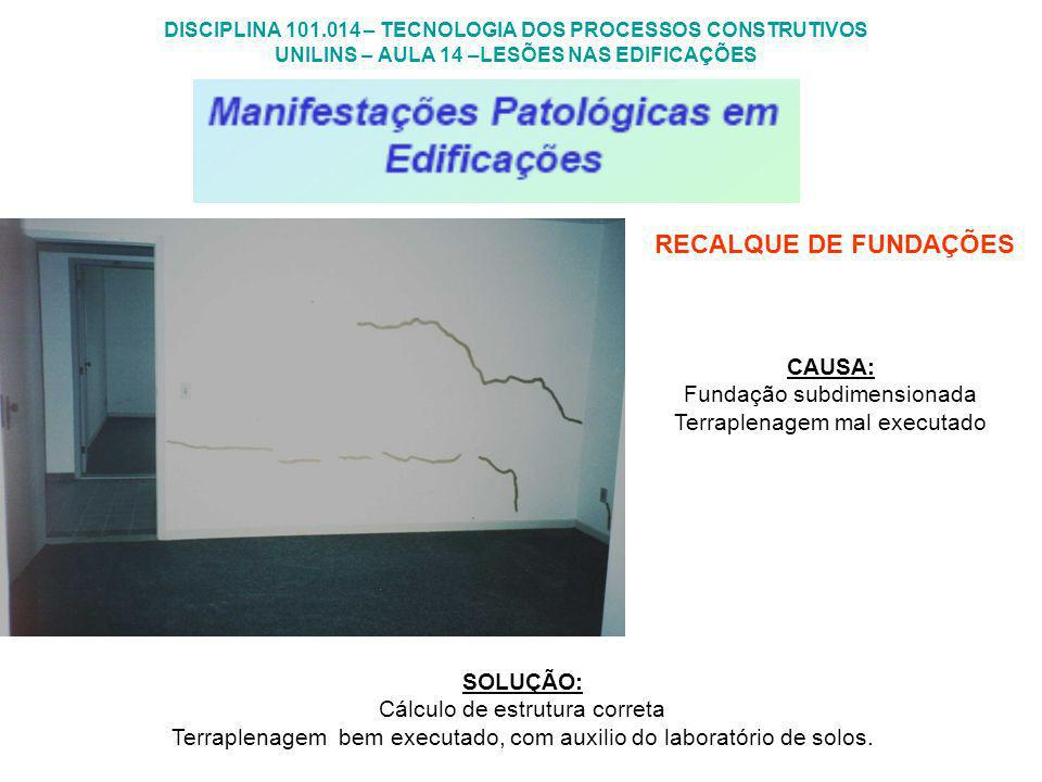 RECALQUE DE FUNDAÇÕES CAUSA: Fundação subdimensionada