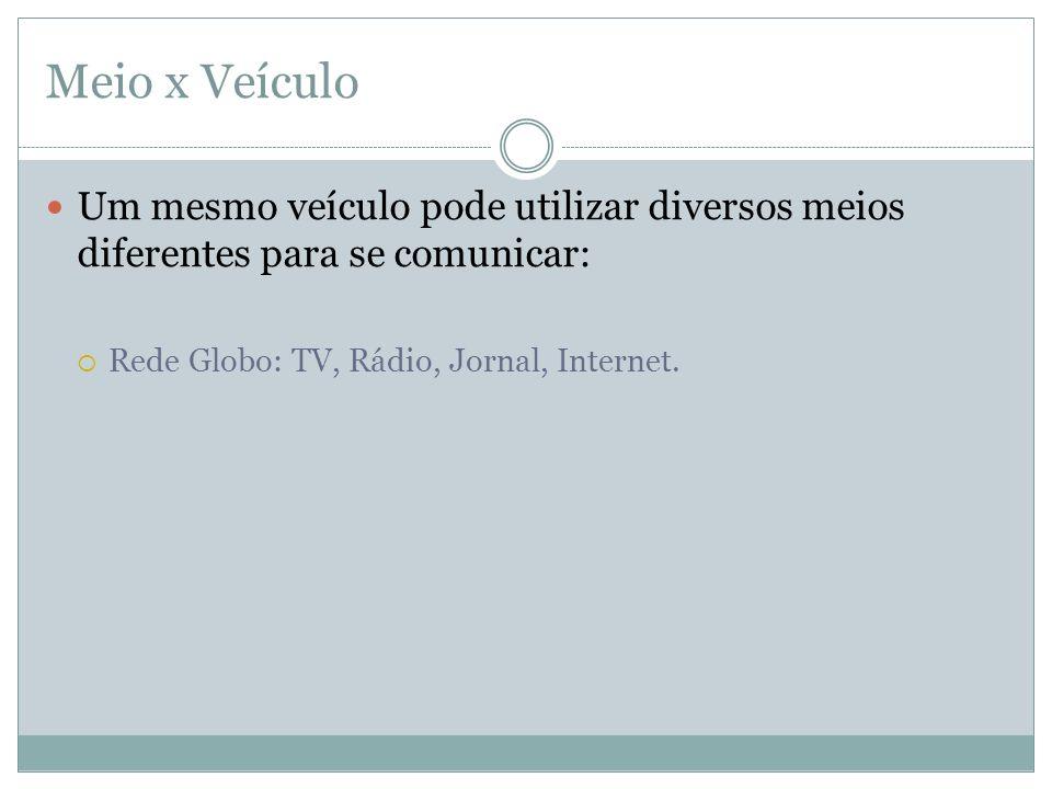 Meio x VeículoUm mesmo veículo pode utilizar diversos meios diferentes para se comunicar: Rede Globo: TV, Rádio, Jornal, Internet.