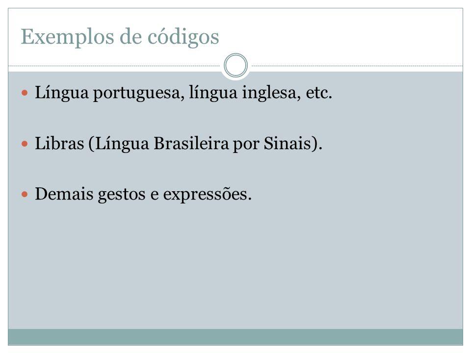 Exemplos de códigos Língua portuguesa, língua inglesa, etc.