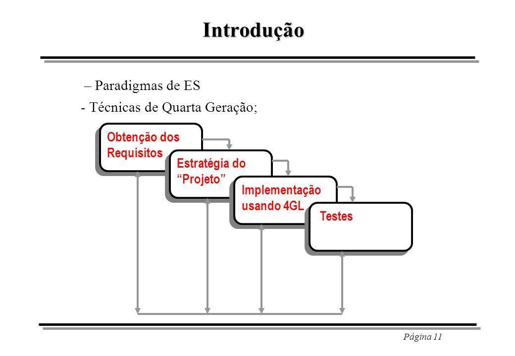 Introdução – Paradigmas de ES - Técnicas de Quarta Geração;