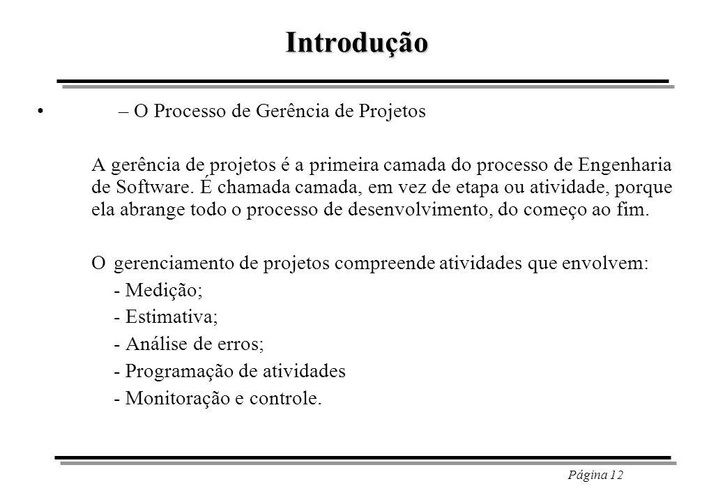 Introdução – O Processo de Gerência de Projetos