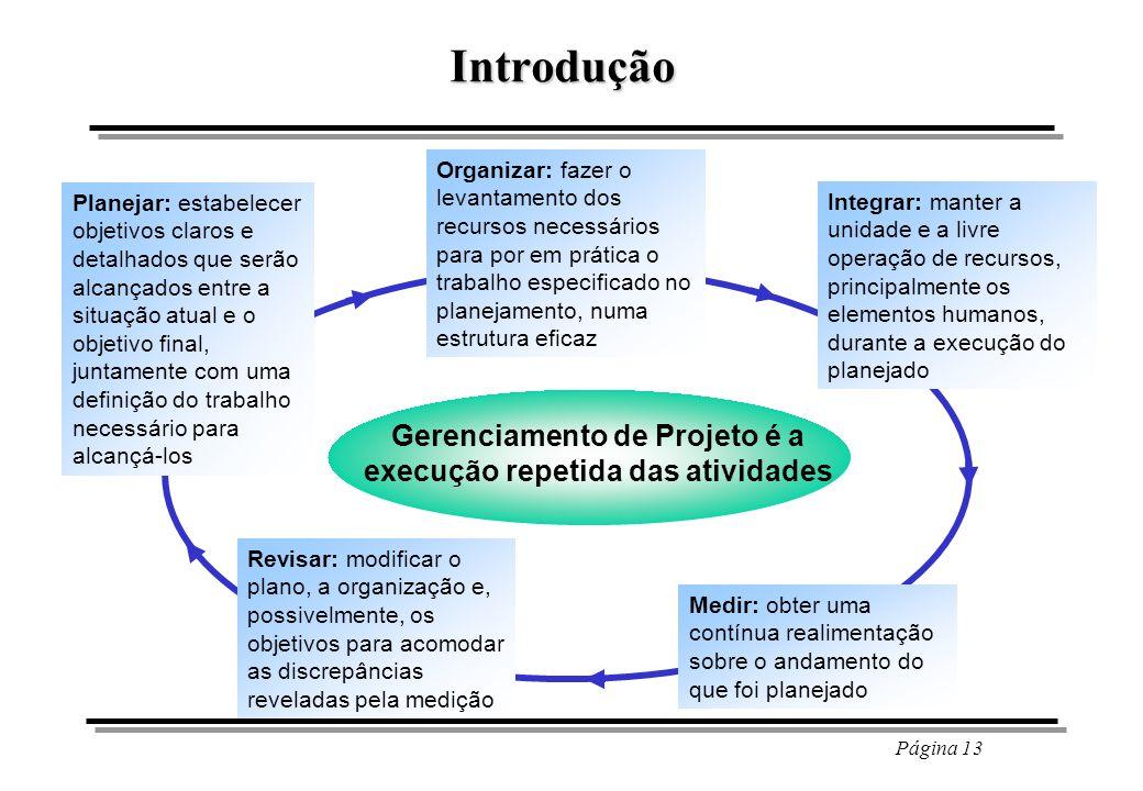 Gerenciamento de Projeto é a execução repetida das atividades
