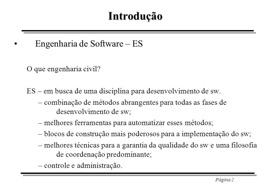 Introdução Engenharia de Software – ES O que engenharia civil