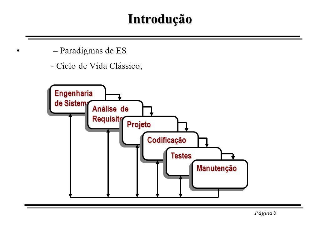 Introdução - Ciclo de Vida Clássico; – Paradigmas de ES