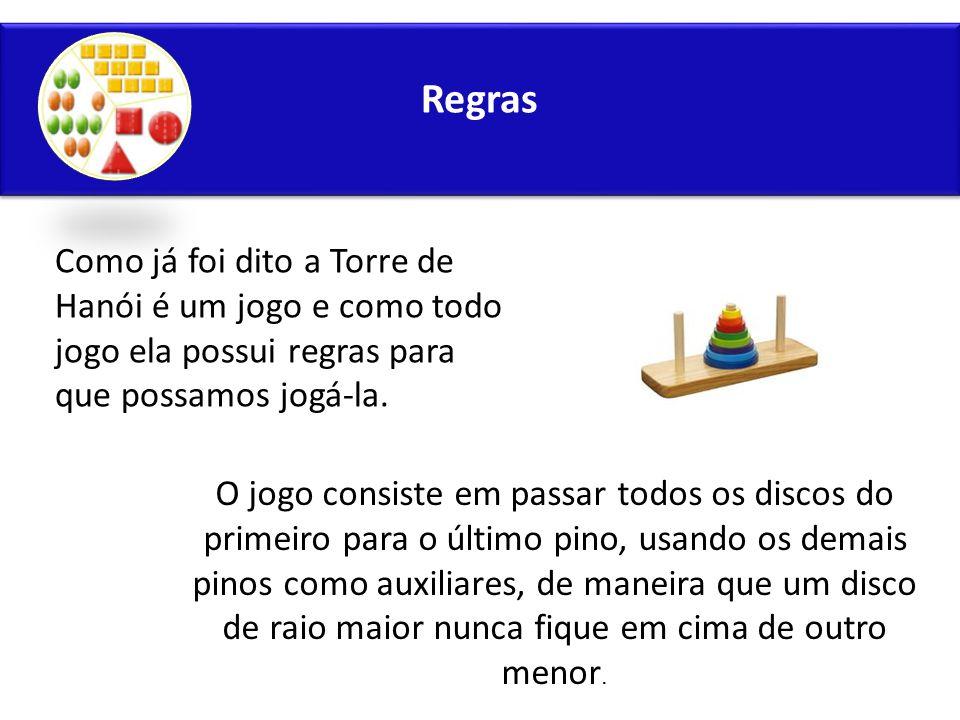 Regras Como já foi dito a Torre de Hanói é um jogo e como todo jogo ela possui regras para que possamos jogá-la.