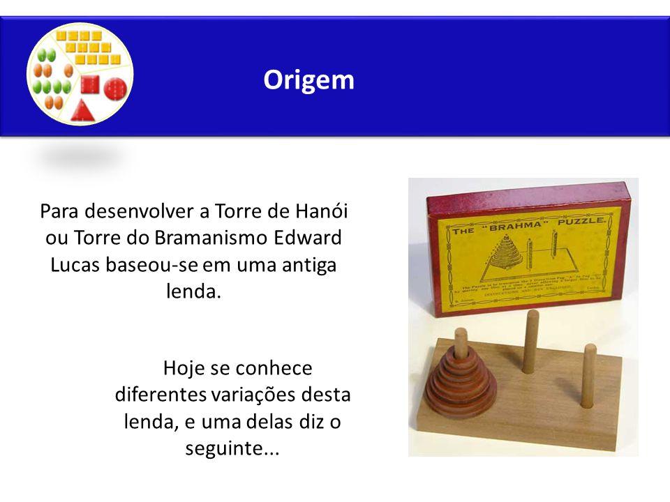 Origem Para desenvolver a Torre de Hanói ou Torre do Bramanismo Edward Lucas baseou-se em uma antiga lenda.