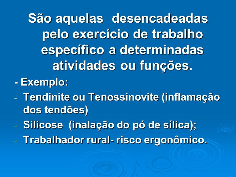 São aquelas desencadeadas pelo exercício de trabalho específico a determinadas atividades ou funções.