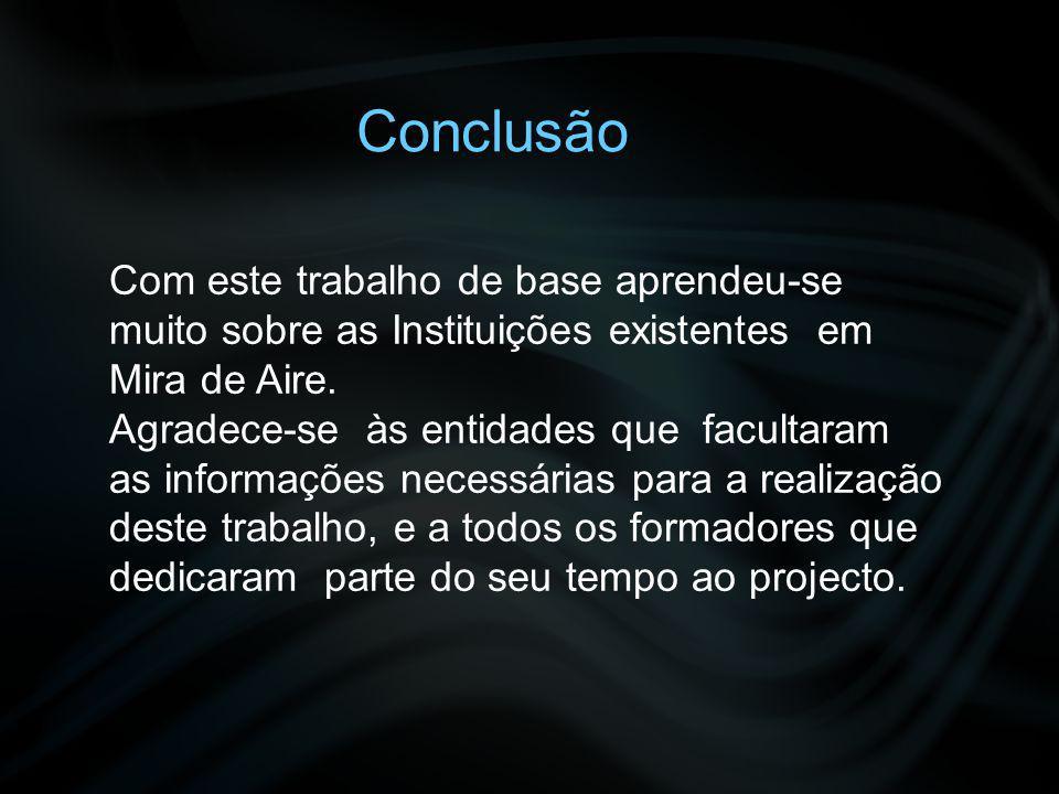 Conclusão Com este trabalho de base aprendeu-se muito sobre as Instituições existentes em Mira de Aire.