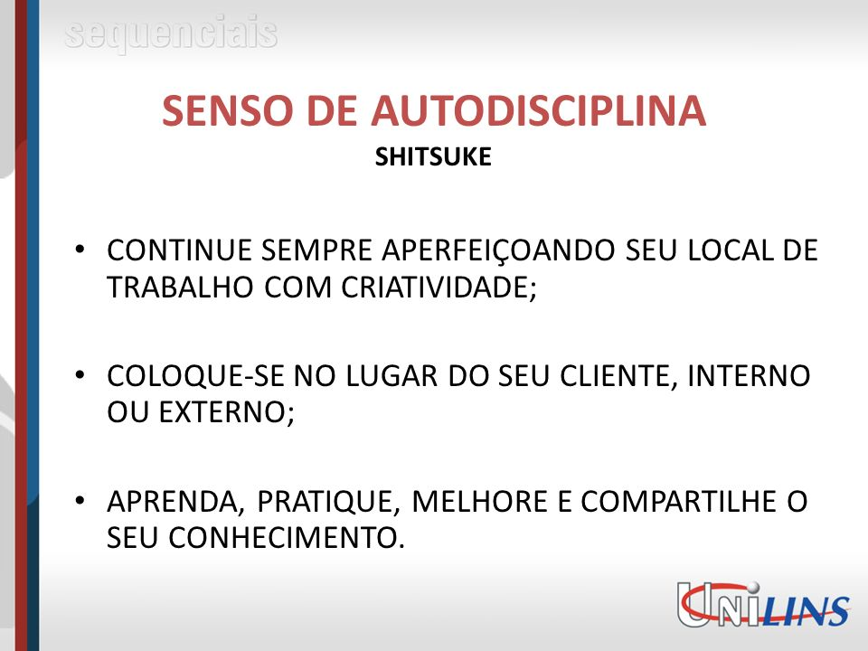 SENSO DE AUTODISCIPLINA SHITSUKE
