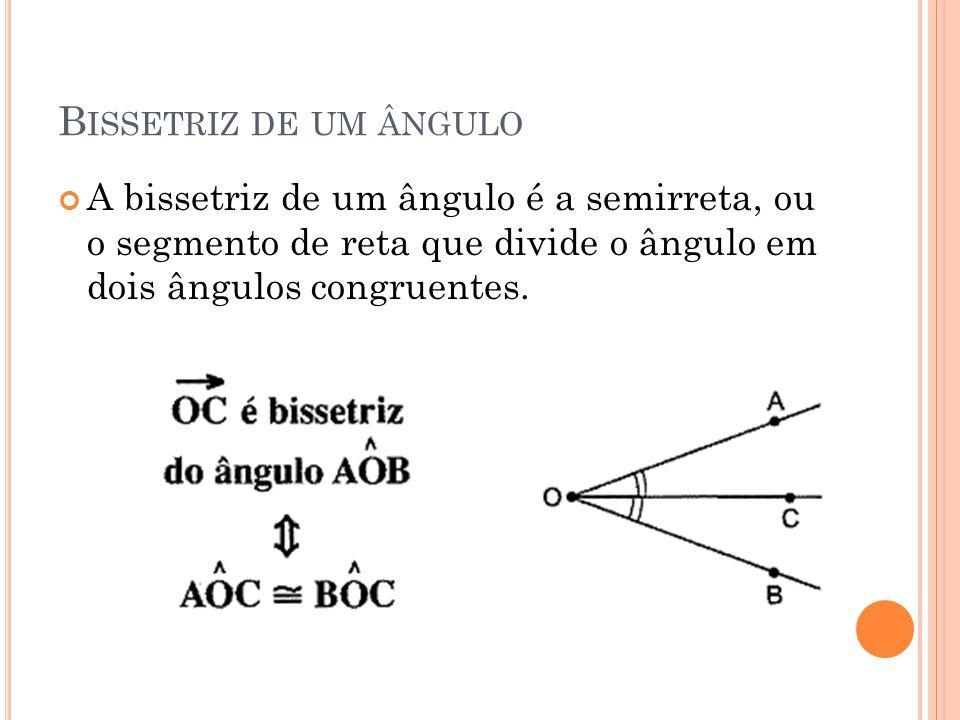 Bissetriz de um ângulo A bissetriz de um ângulo é a semirreta, ou o segmento de reta que divide o ângulo em dois ângulos congruentes.