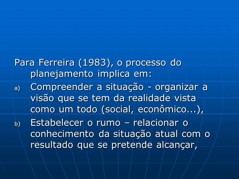 Para Ferreira (1983), o processo do planejamento implica em: