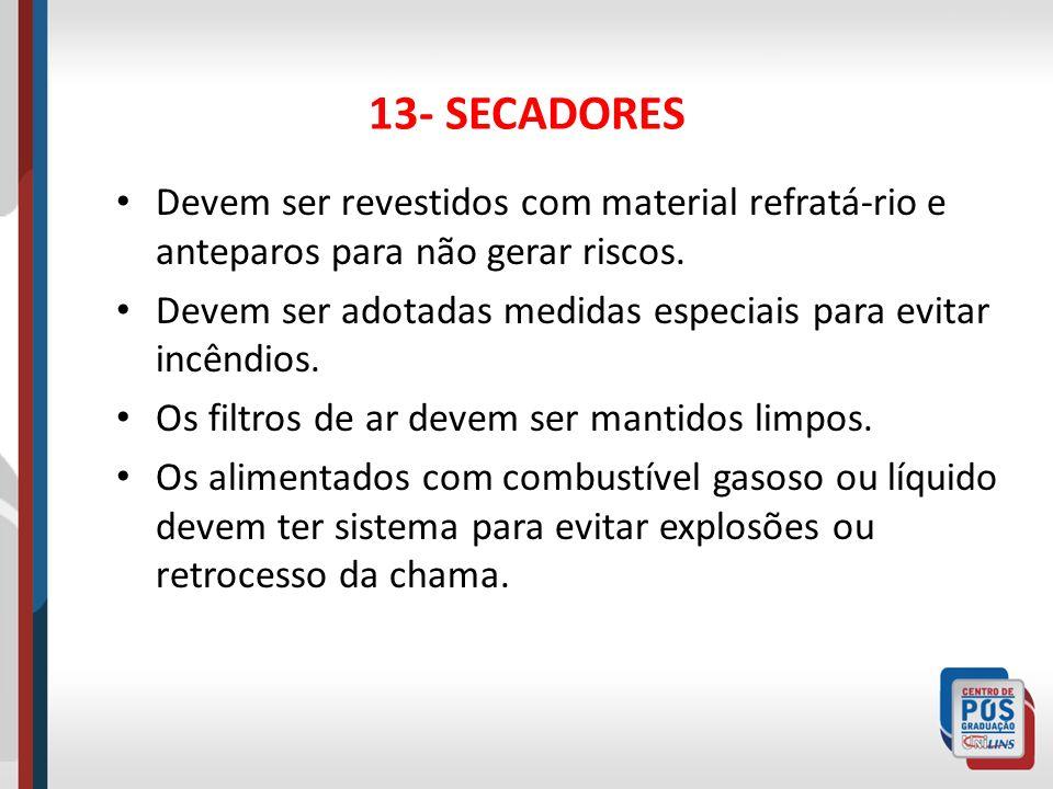 13- SECADORES Devem ser revestidos com material refratá-rio e anteparos para não gerar riscos.