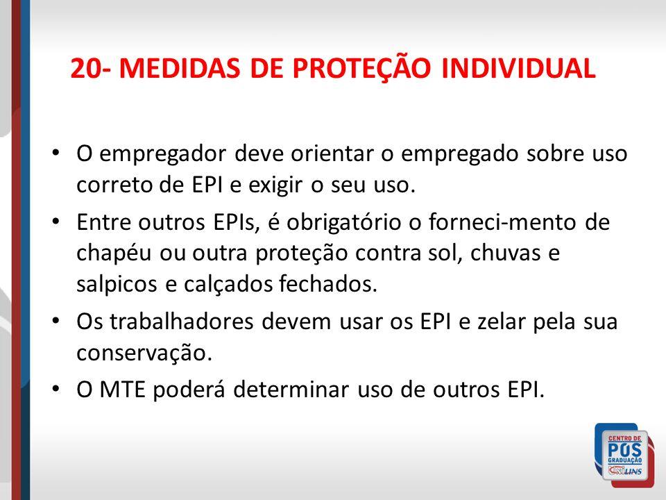 20- MEDIDAS DE PROTEÇÃO INDIVIDUAL