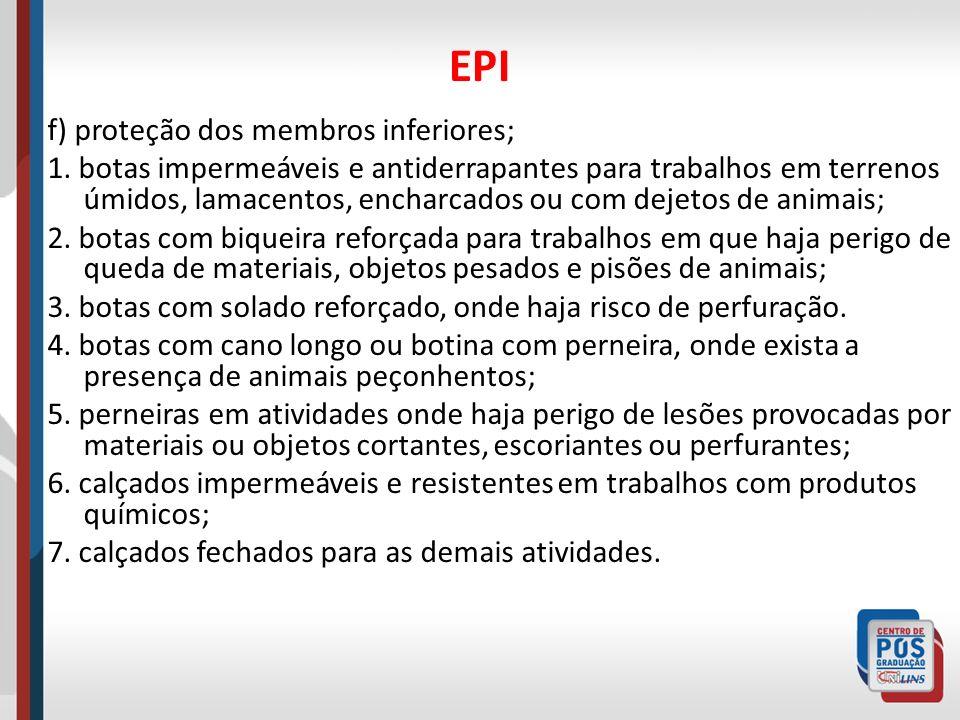 EPI f) proteção dos membros inferiores;