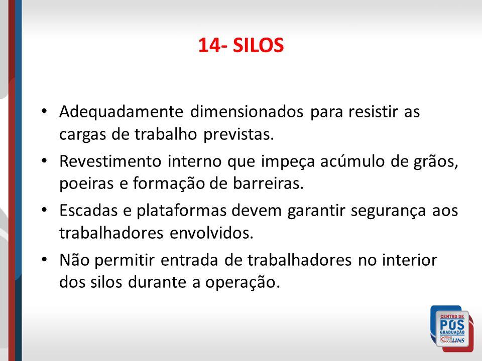 14- SILOS Adequadamente dimensionados para resistir as cargas de trabalho previstas.