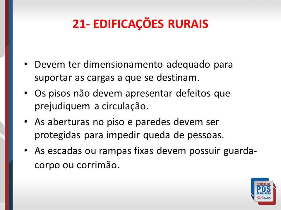 21- EDIFICAÇÕES RURAISDevem ter dimensionamento adequado para suportar as cargas a que se destinam.