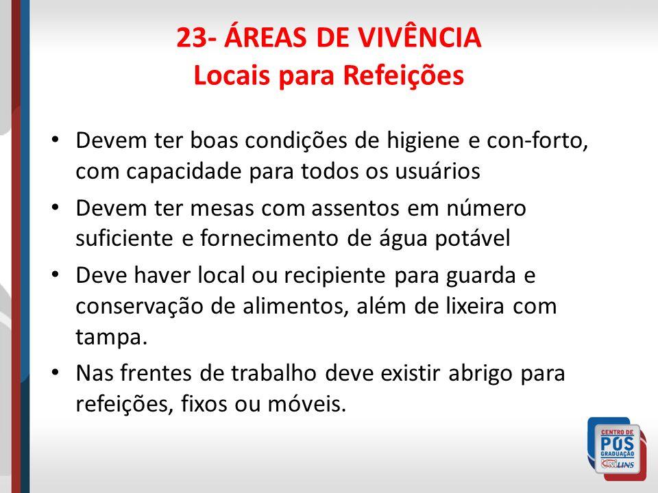 23- ÁREAS DE VIVÊNCIA Locais para Refeições