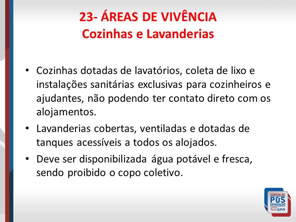 23- ÁREAS DE VIVÊNCIA Cozinhas e Lavanderias