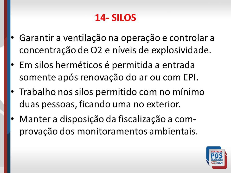 14- SILOSGarantir a ventilação na operação e controlar a concentração de O2 e níveis de explosividade.
