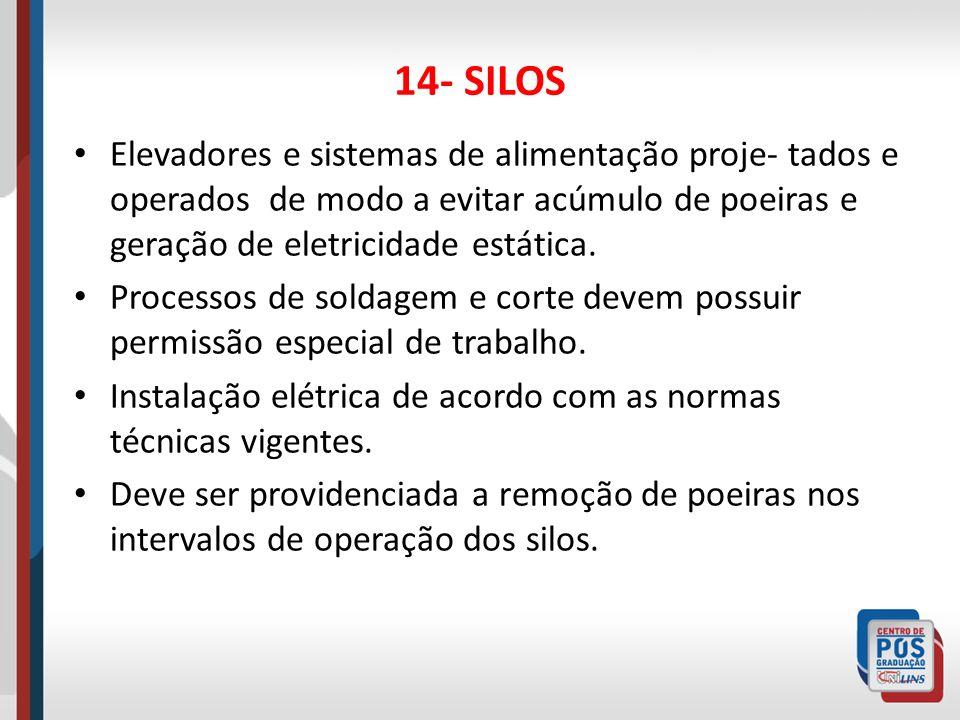14- SILOSElevadores e sistemas de alimentação proje- tados e operados de modo a evitar acúmulo de poeiras e geração de eletricidade estática.