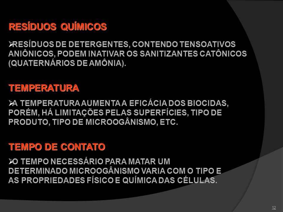 RESÍDUOS QUÍMICOS TEMPERATURA TEMPO DE CONTATO
