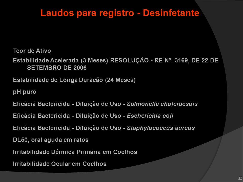 Laudos para registro - Desinfetante