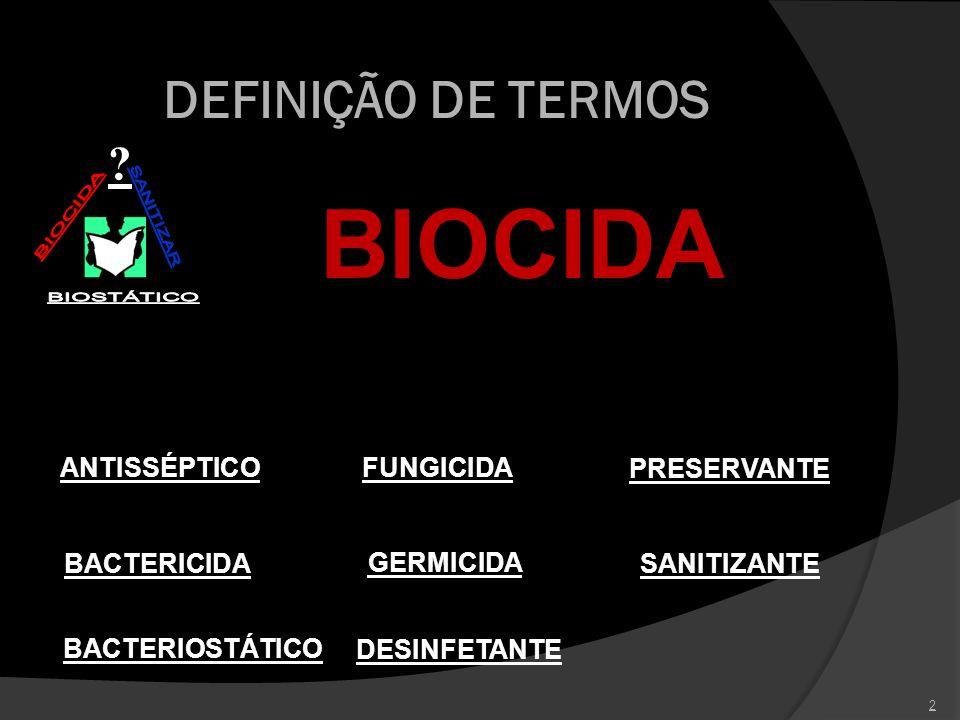 BIOCIDA DEFINIÇÃO DE TERMOS PRESERVANTE SANITIZANTE GERMICIDA