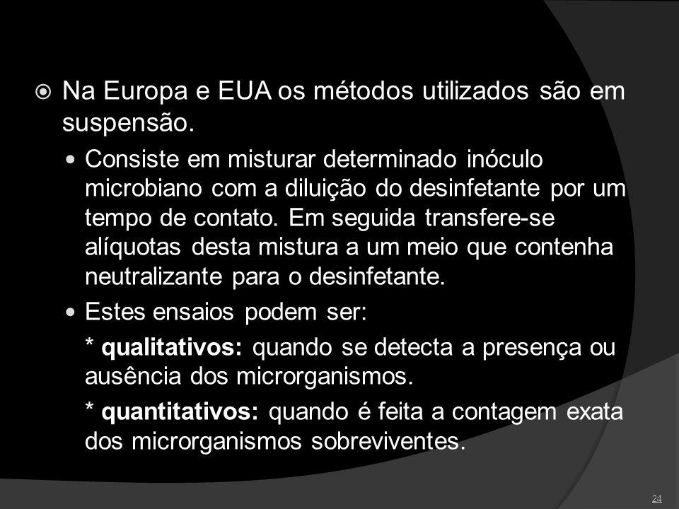 Na Europa e EUA os métodos utilizados são em suspensão.