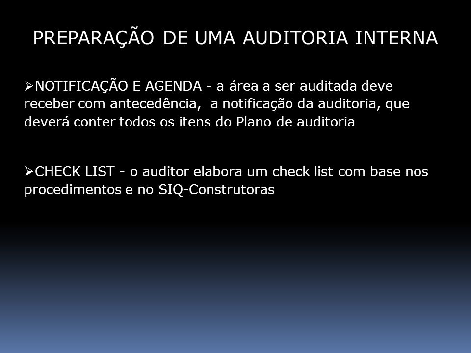 PREPARAÇÃO DE UMA AUDITORIA INTERNA