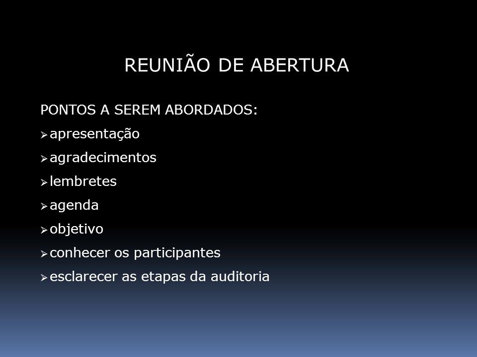 REUNIÃO DE ABERTURA PONTOS A SEREM ABORDADOS: apresentação