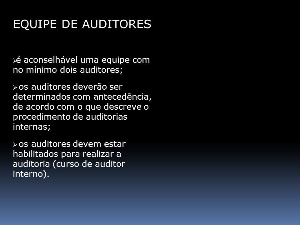 EQUIPE DE AUDITORESé aconselhável uma equipe com no mínimo dois auditores;