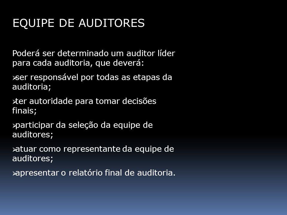 EQUIPE DE AUDITORES Poderá ser determinado um auditor líder para cada auditoria, que deverá: ser responsável por todas as etapas da auditoria;