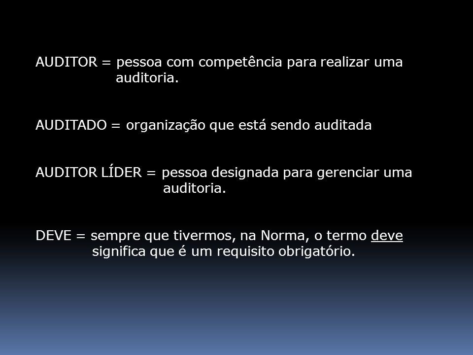 AUDITOR = pessoa com competência para realizar uma auditoria.