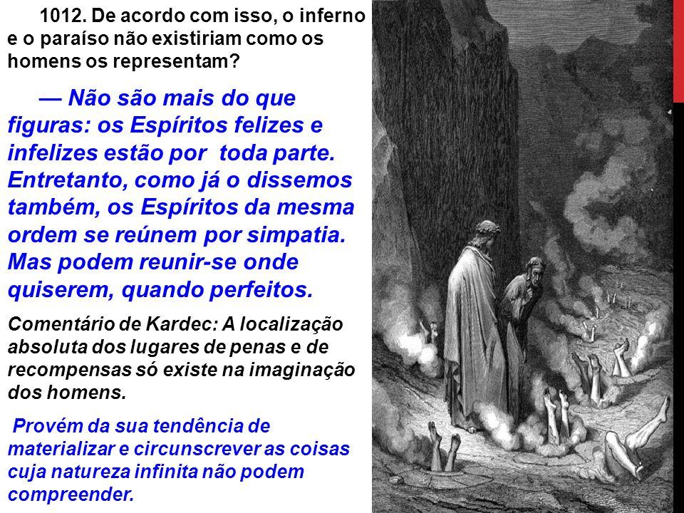 1012. De acordo com isso, o inferno e o paraíso não existiriam como os homens os representam.