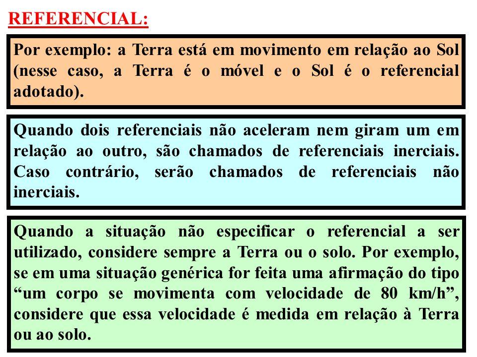 REFERENCIAL: Por exemplo: a Terra está em movimento em relação ao Sol (nesse caso, a Terra é o móvel e o Sol é o referencial adotado).
