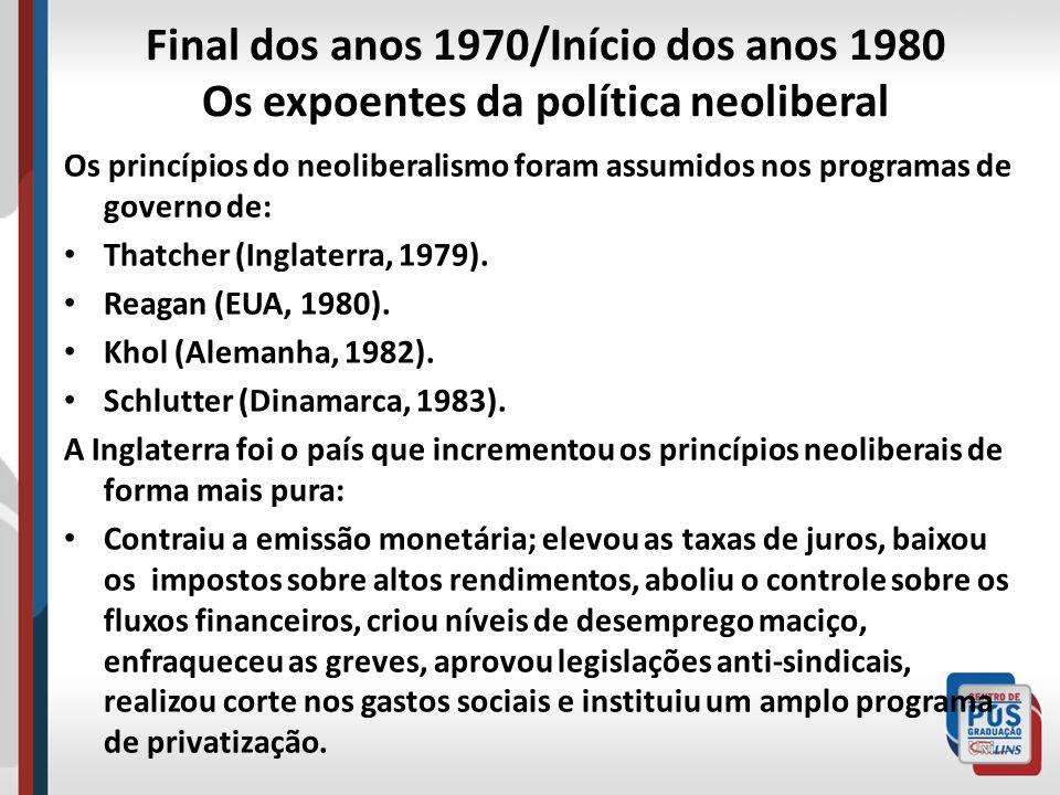 Final dos anos 1970/Início dos anos 1980 Os expoentes da política neoliberal