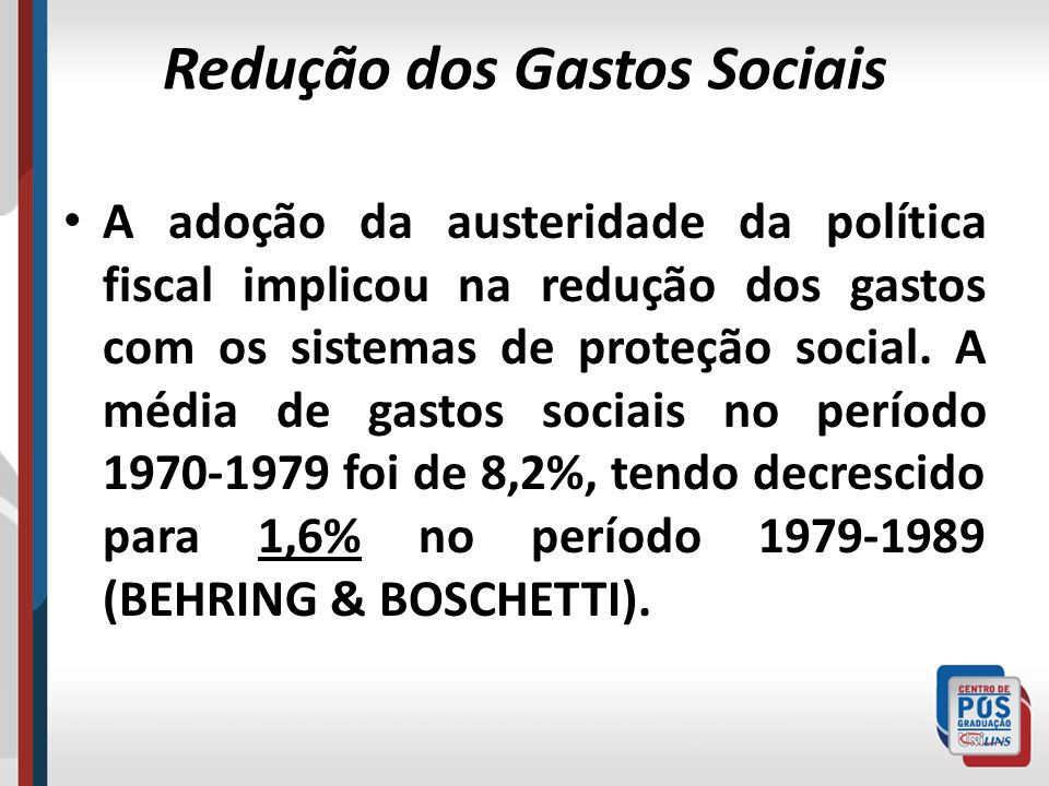 Redução dos Gastos Sociais