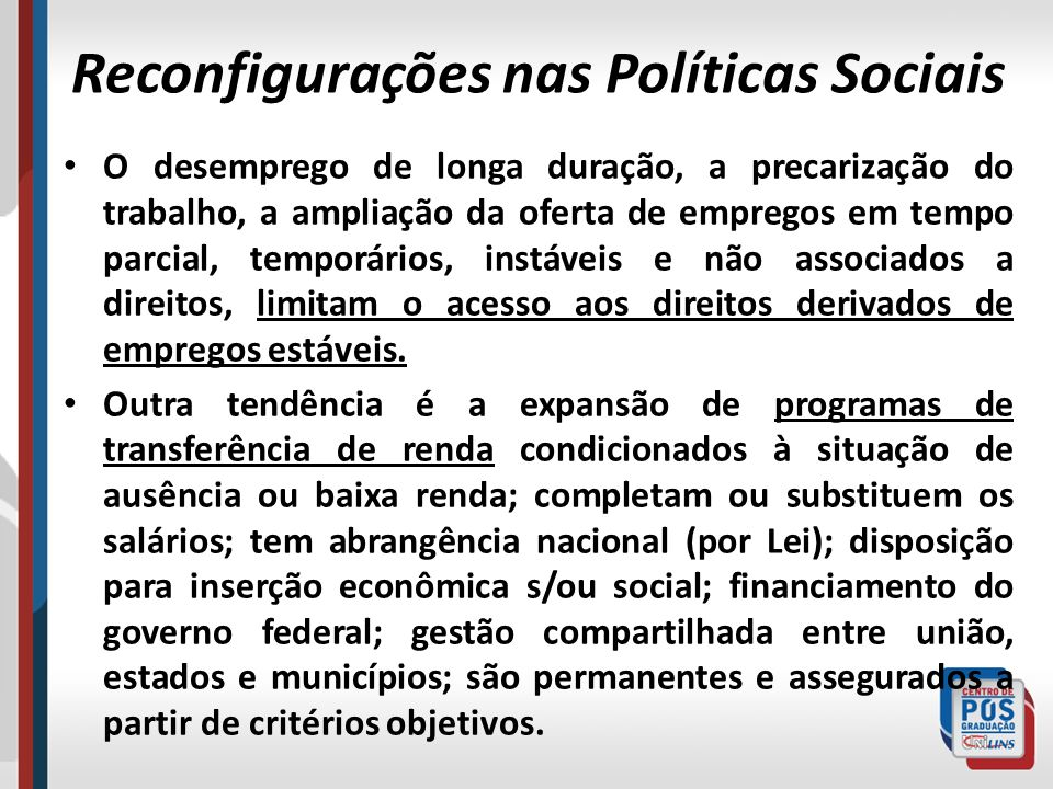 Reconfigurações nas Políticas Sociais